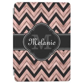 Cover De iPad Air Monograma color de rosa del blanco del negro del