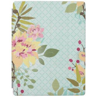 Cover De iPad Jardín floral, fondo azul