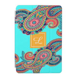 Cover De iPad Mini Monograma brillante de Paisley de la aguamarina