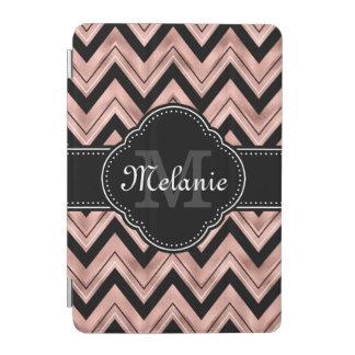 Cover De iPad Mini Monograma color de rosa del blanco del negro del