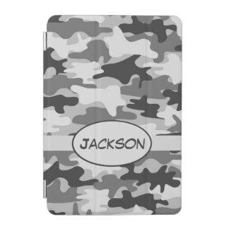 Cover De iPad Mini Nombre gris del camuflaje de Camo personalizado
