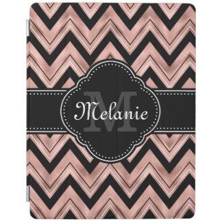 Cover De iPad Monograma color de rosa del blanco del negro del