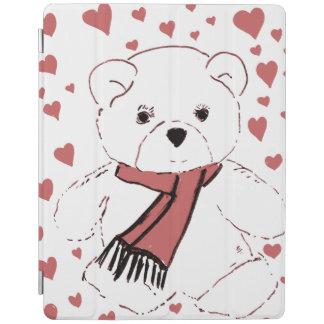 Cover De iPad Oso de peluche blanco con los corazones rojos