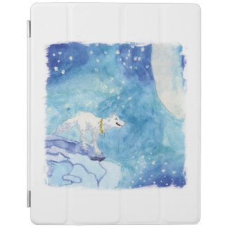 Cover De iPad Pintura infantil de la acuarela con el lobo nevoso