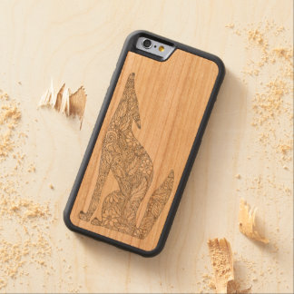 Coyote mexicano que grita en la luna funda protectora de cerezo para iPhone 6 de carved