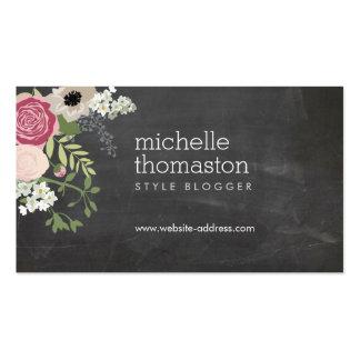 Crafter elegante de la pizarra del ramo floral, tarjetas de visita