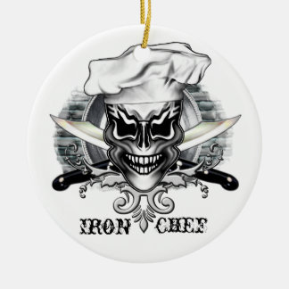 Cráneo 1 del cocinero adorno redondo de cerámica