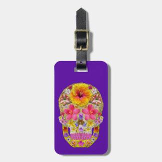 Cráneo 4 de la flor - tropical etiqueta para maletas