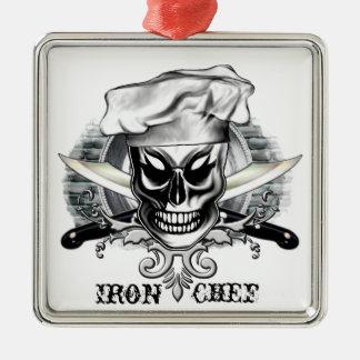 Cráneo 4 del cocinero: Cocinero del hierro Adorno Cuadrado Plateado