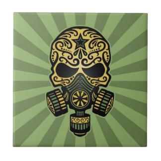 Cráneo apocalíptico del azúcar del poste verde azulejo de cerámica
