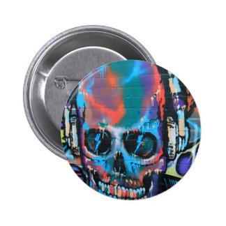 Cráneo, arte azul de la calle de la pintada de la