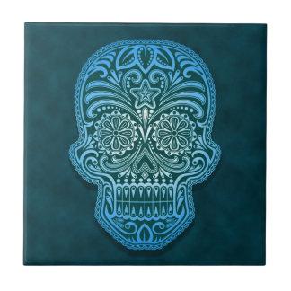 Cráneo azul decorativo del azúcar azulejo cuadrado pequeño