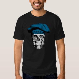 Cráneo azul del cocinero del gorra camiseta