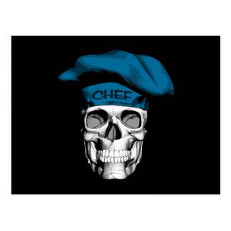 Cráneo azul del cocinero del gorra postal