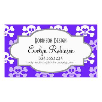 Cráneo azul, púrpura y blanco violeta y huesos cru plantillas de tarjetas personales