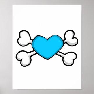 cráneo azul y bandera pirata del corazón poster