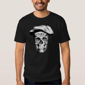 Cráneo blanco del cocinero del gorra camisetas