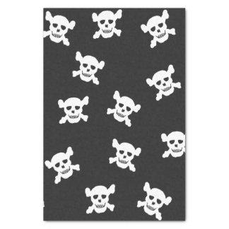 Cráneo blanco grande y bandera pirata en negro papel de seda