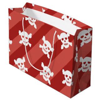 Cráneo blanco y bandera pirata en rayas rojas bolsa de regalo grande