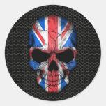 Cráneo británico de la bandera en el gráfico de ac pegatina
