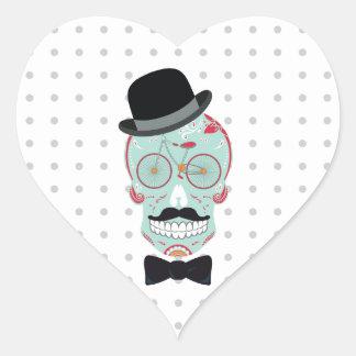 Cráneo Calavera del azúcar de la bicicleta del Pegatina En Forma De Corazón