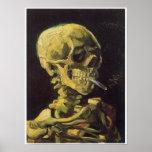Cráneo con el cigarrillo ardiente, Van Gogh Impresiones