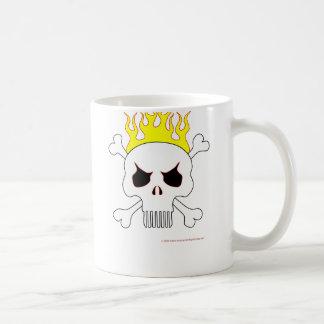Cráneo con la taza de las llamas