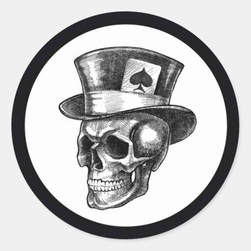 Cráneo con Tophat Pegatina