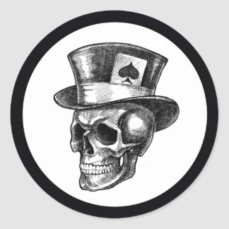 Cráneo con Tophat Pegatina Redonda