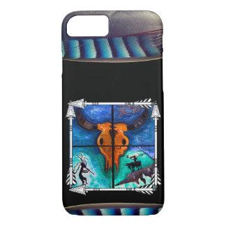 Cráneo de Bull con las plumas y las flechas Funda Para iPhone 8/7