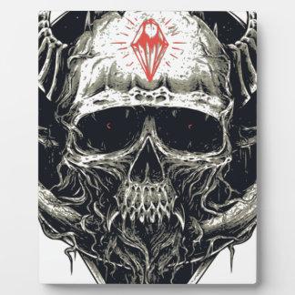 Cráneo de cuernos del diablo placa expositora