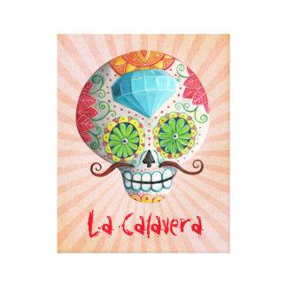 Cráneo de Dia de Los Muertos Sugar con los bigotes Impresion De Lienzo