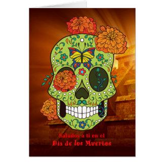 Cráneo de Dia de los Muertos Sugar, en Español de Tarjeta De Felicitación