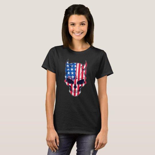 Cráneo de la bandera americana camiseta
