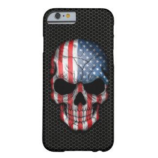 Cráneo de la bandera americana en el gráfico de funda de iPhone 6 barely there