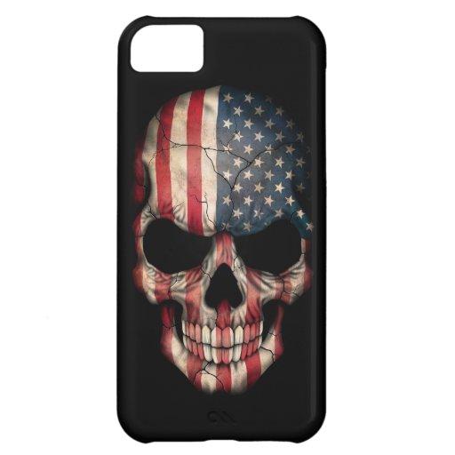 Cráneo de la bandera americana en negro