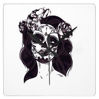 Cráneo de la máscara reloj cuadrado