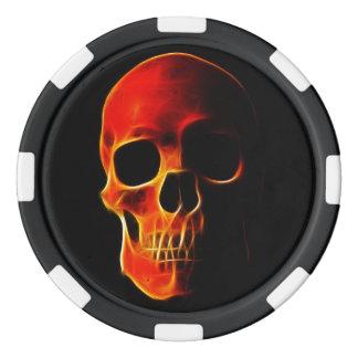 Cráneo de las fichas de póker de la plantilla de