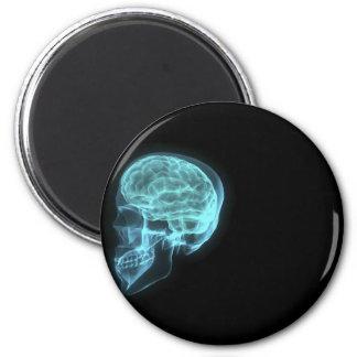 Cráneo de neón azul de la radiografía de la vista  imán redondo 5 cm