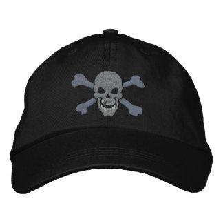 Cráneo de plata de la bandera pirata clásica del gorra de béisbol bordada