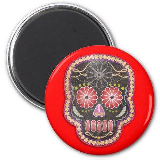 Cráneo del arte popular - día de los muertos imán redondo 5 cm