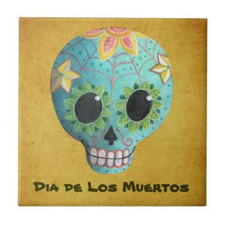Cráneo del azúcar Blue Dia de Los Muertos Art Azulejo Cuadrado Pequeño