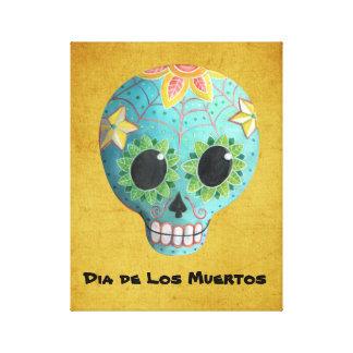 Cráneo del azúcar Blue Dia de Los Muertos Art Impresión En Tela