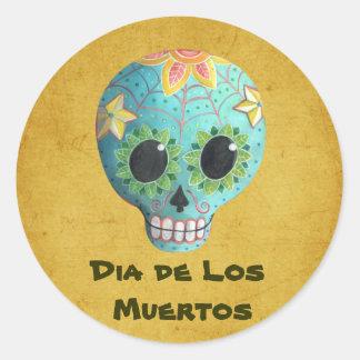 Cráneo del azúcar Blue Dia de Los Muertos Art Pegatina Redonda