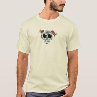 Cráneo del azúcar con las flores y la abeja camiseta