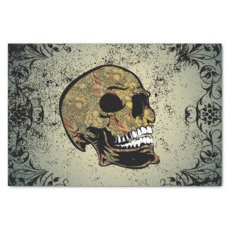Cráneo del azúcar con los elementos florales papel de seda