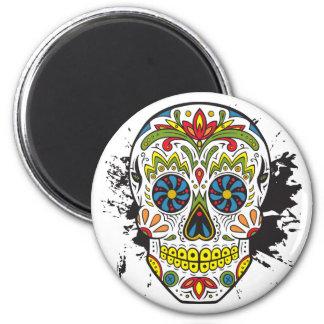 Cráneo del azúcar, cráneo del tatuaje, cráneo imán redondo 5 cm