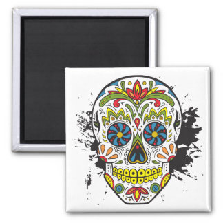Cráneo del azúcar, cráneo del tatuaje, cráneo imán cuadrado