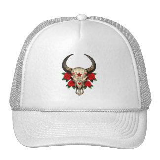 Cráneo del azúcar de Bull con los rosas rojos Gorra