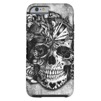 Cráneo del azúcar del caramelo del Grunge en Funda De iPhone 6 Tough